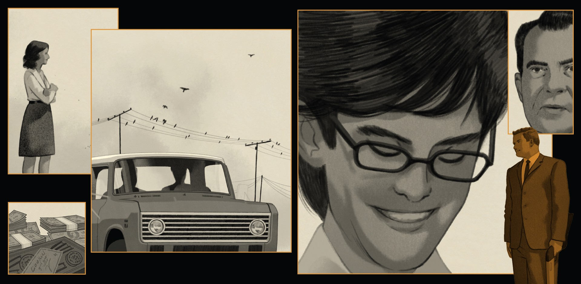 collage of illustrations: woman alone; stacks of cash; truck with birds on wire; sketches of men; Nixon