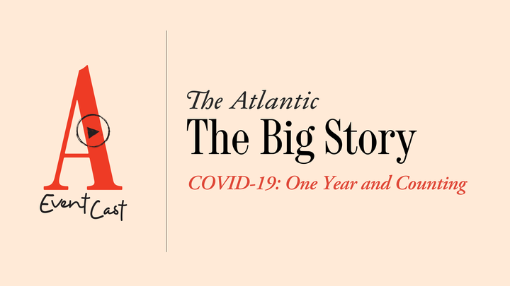 """A peach-colored background that says """"The Big Story: COVID-19: One Year and Counting"""" with the red Atlantic A on the left"""