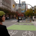 A cyclist wearing a helmet in Vancouver