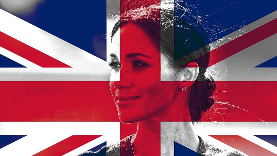 British flag and Meghan Markle