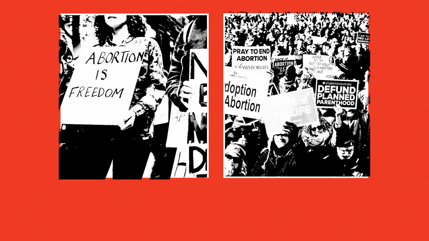 """Two images: a protestor holding a sign that reads """"Abortion Is Freedom"""" and protestors holding anti-abortion signs"""
