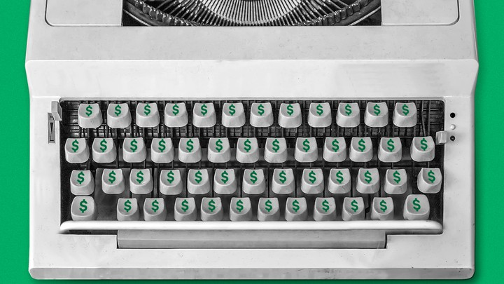 A typewriter where every key has a dollar sign ($) on it.