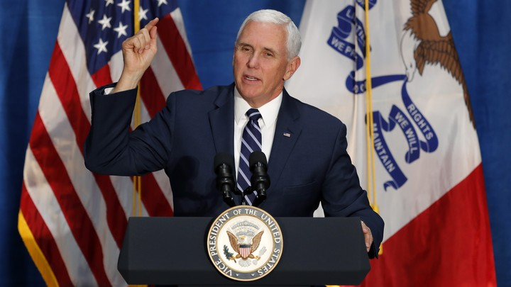 Vice President Mike Pence speaking at a midterm-election campaign rally