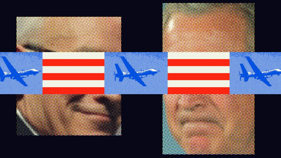 Illustration of faces, planes, and red and white stripes
