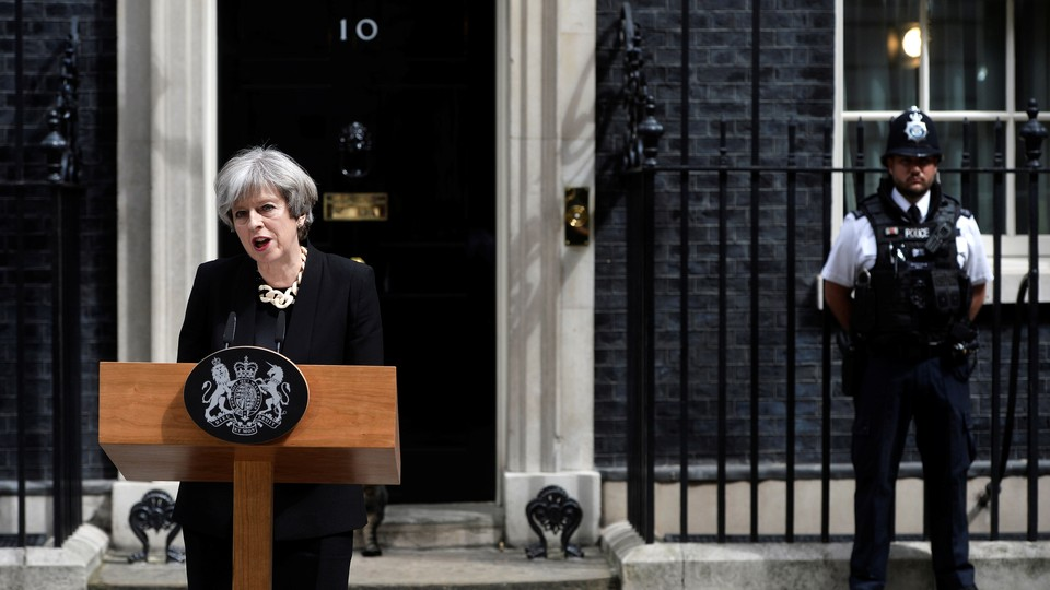 Britain's Prime Minister Theresa May speaks outside 10 Downing Street.