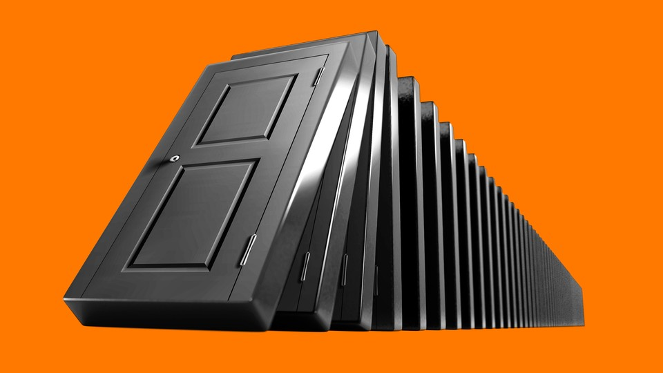 A series of doors stacked up like dominos