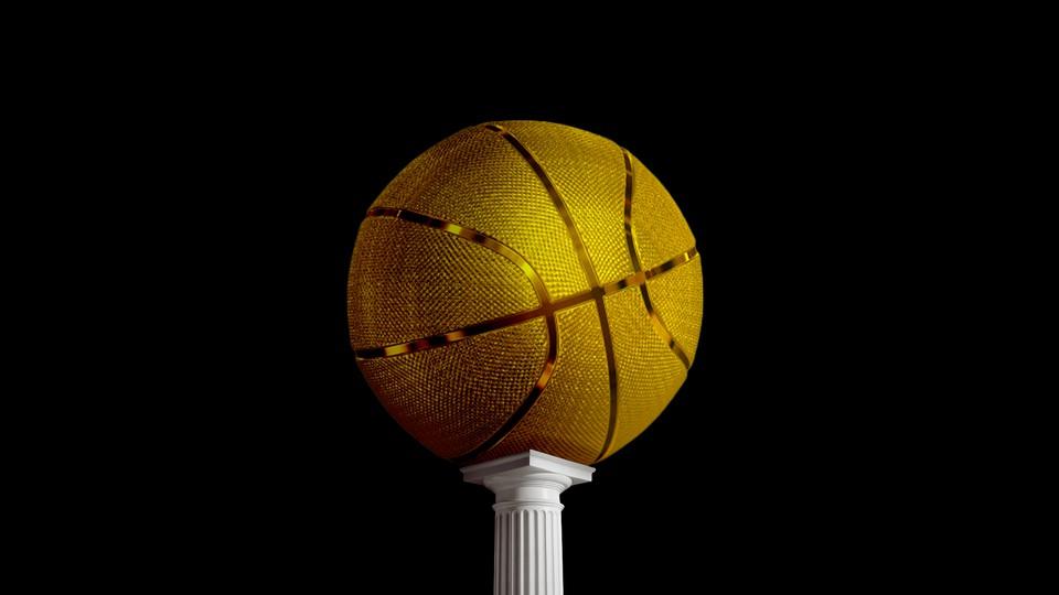 A golden basketball on a pedestal