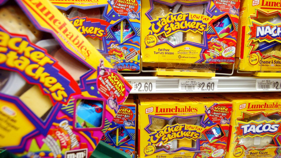 Boxes of Lunchables on a grocery-store shelf