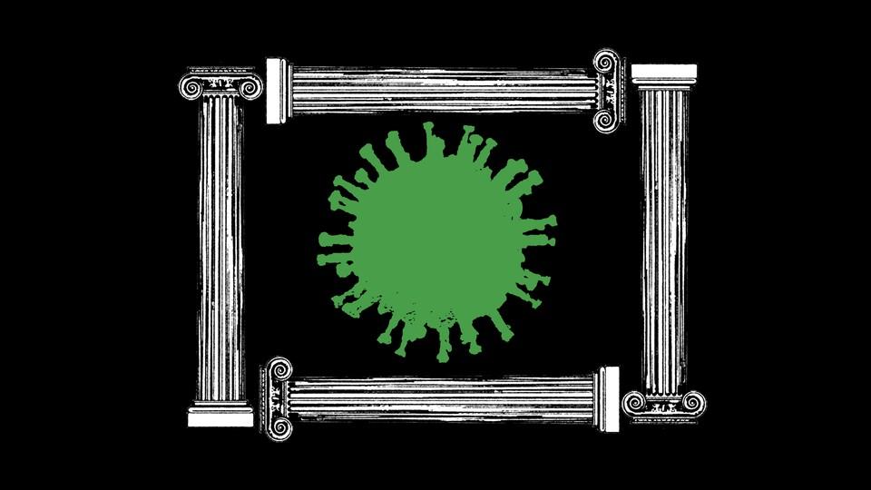 a green coronavirus framed by columns