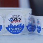"Rolls of ""I voted"" stickers for the city of Denver"