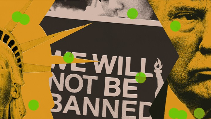 """An illustration of Trump, the Statue of Liberty, and a sign reading """"We will not be banned"""""""