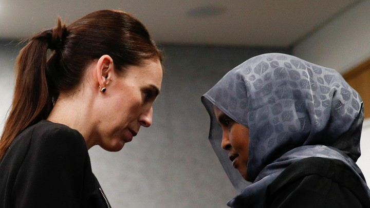 New Zealand Prime Minister Jacinda Ardern meets with one of the first responders who was at the scene of the Christchurch mosque shootings.