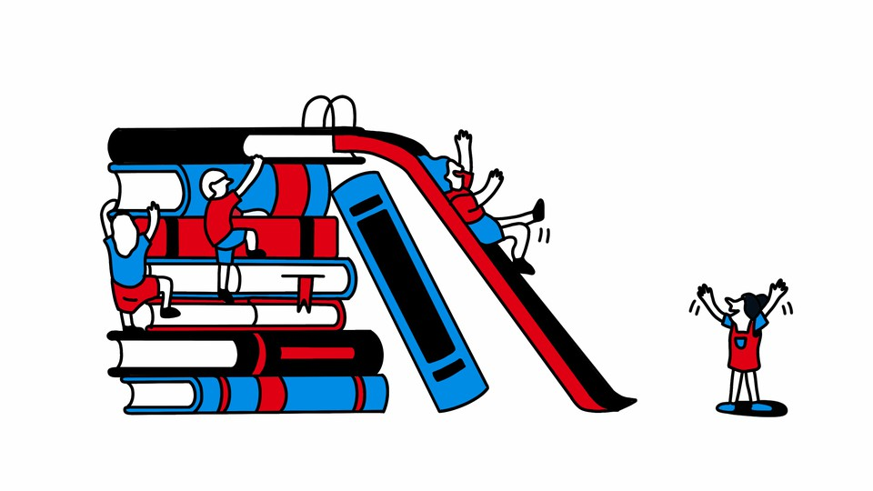 An illustration of kids climbing up a stack of books and sliding down a slide attached to the top of the stack