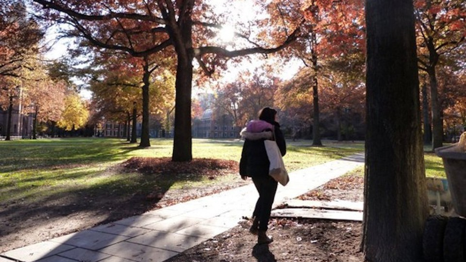 A woman walks along a sidewalk among trees in autumn.