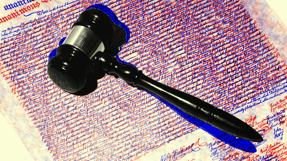 An illustration of a gavel with the Constitution text behind it.