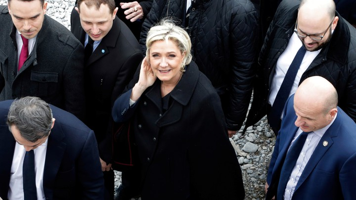 Marine Le Pen, the National Front presidential candidate, walks on the beach in Nice, France, on February 13, 2017.