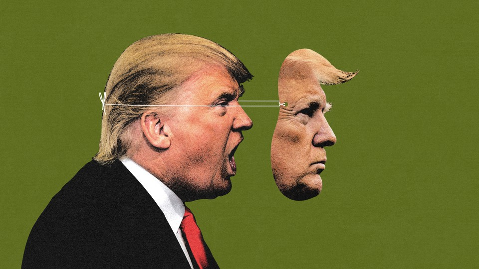 An illustration of Donald Trump with a mask on his face.
