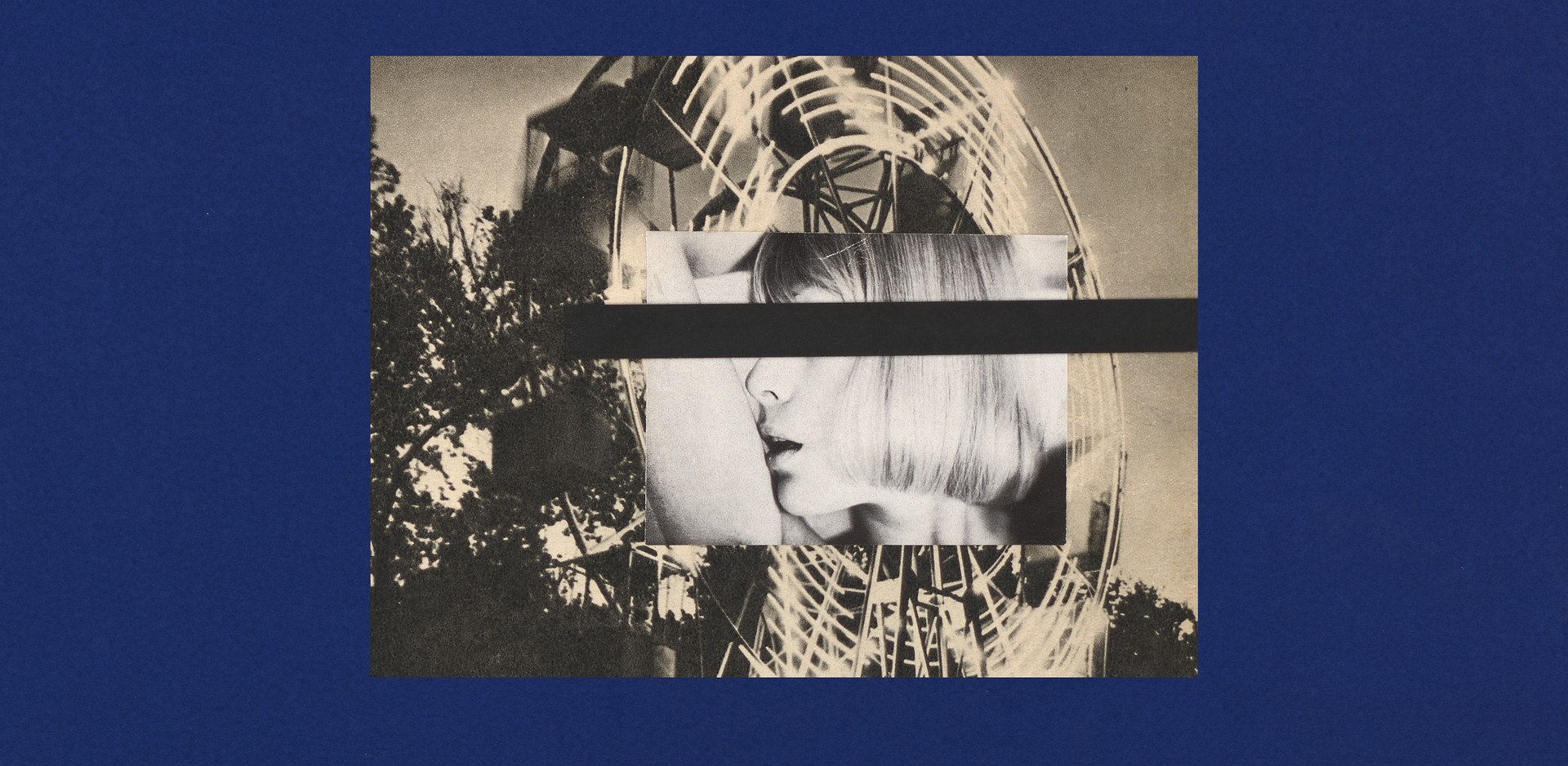 Black-and-white images of a woman and a spinning Ferris wheel on cobalt blue