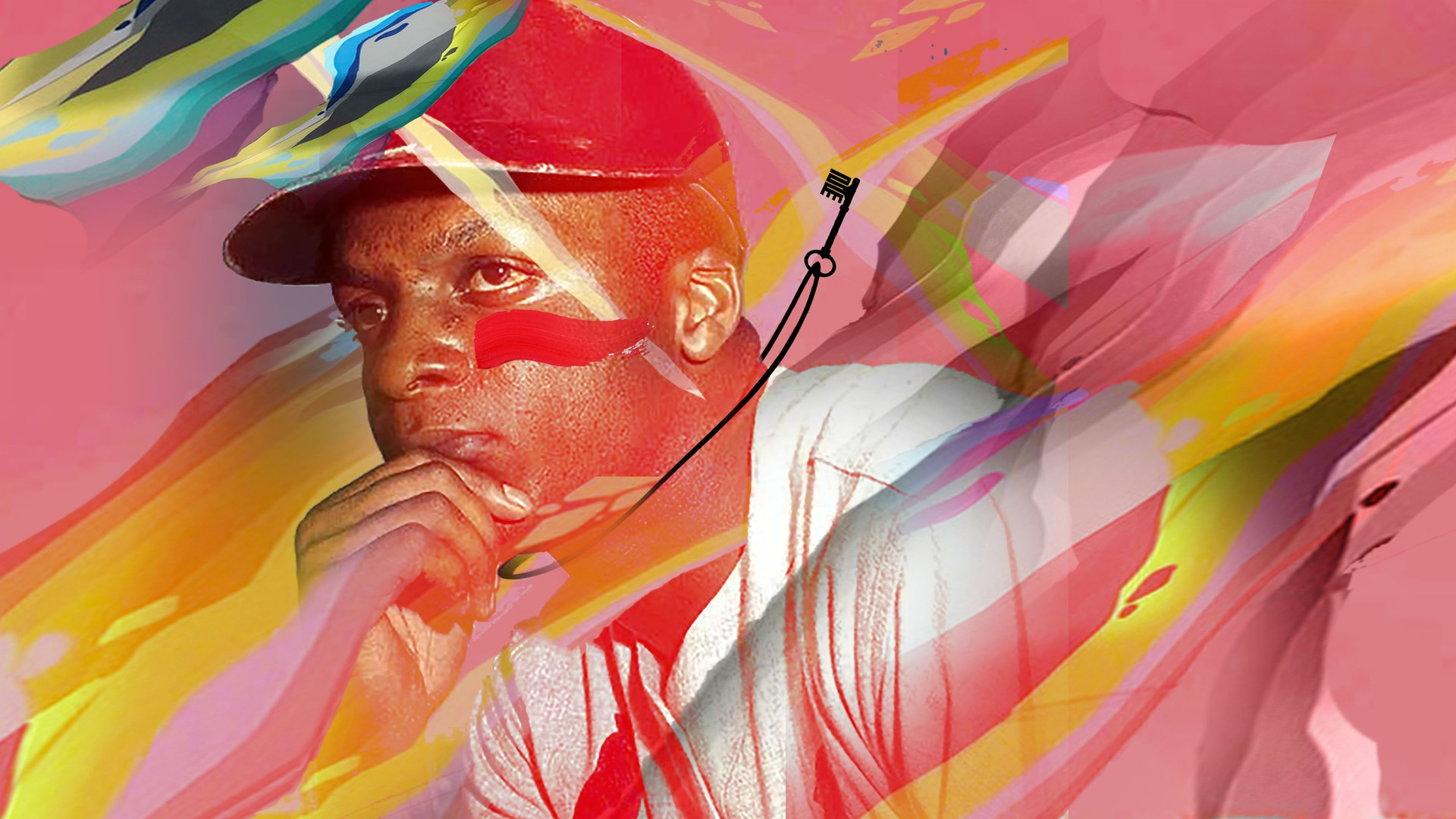 colorful photo illustration of Curt Flood