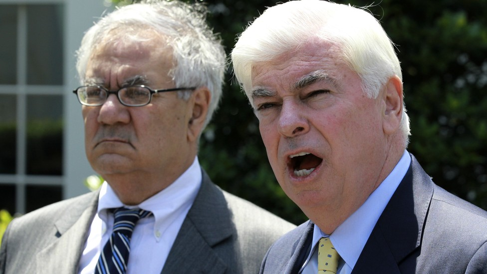 Barney Frank and Christopher Dodd after a 2010 meeting with President Obama about financial-sector reform