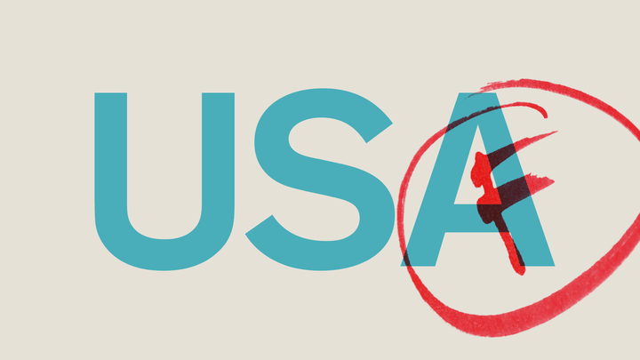 "An illustration of ""USA"" with the letter F written across."