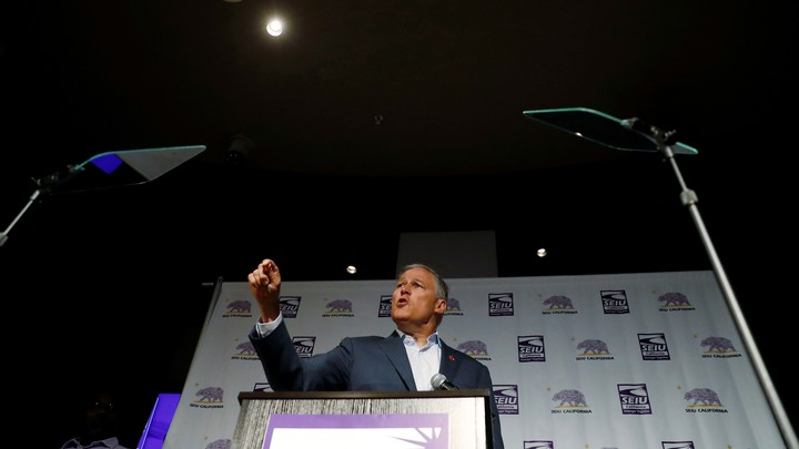 The Democratic presidential candidate and Washington State Governor Jay Inslee campaigns during the SEIU California Democratic Delegate Breakfast in San Francisco, California, on June 1, 2019.