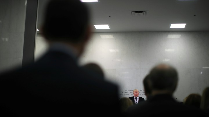 U.S. President Donald Trump delivers remarks during a visit to the Central Intelligence Agency.