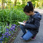 A young girl writes on a clipboard in the botanical garden.