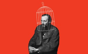 Black-and-white image of Dostoyevsky sitting with clasped hands with illustrated white cage over his head on red background