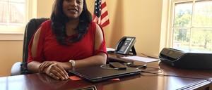 Mayor Ryshonda Harper Beechem at her desk in Pelahatchie, Mississippi.