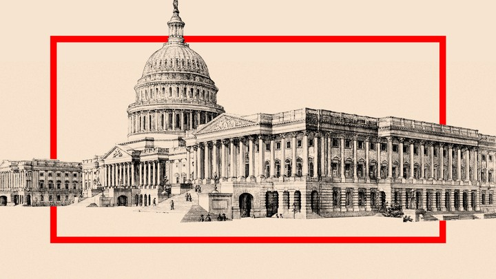 An illustration of the U.S. capitol with a red box