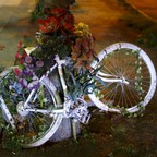 A ghost-bike monument to a rider killed nearby lies draped with flowers in Santiago, Chile.