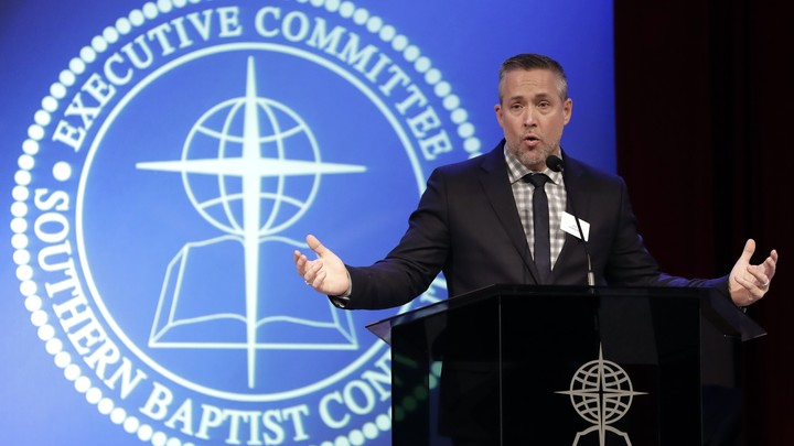 Southern Baptist Convention President J. D. Greear speaks to the denomination's executive committee on February 18, days after a newspaper investigation revealed hundreds of sexual-abuse cases by Southern Baptist ministers and lay leaders.