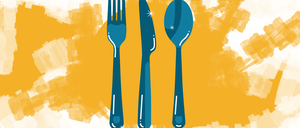 An illustration of a fork, knife, and spoon above a map of Detroit