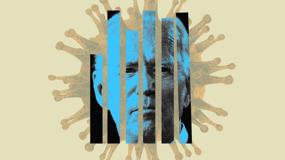 Joe Biden's head, in blue, divided into vertical slats, in front of a coronavirus