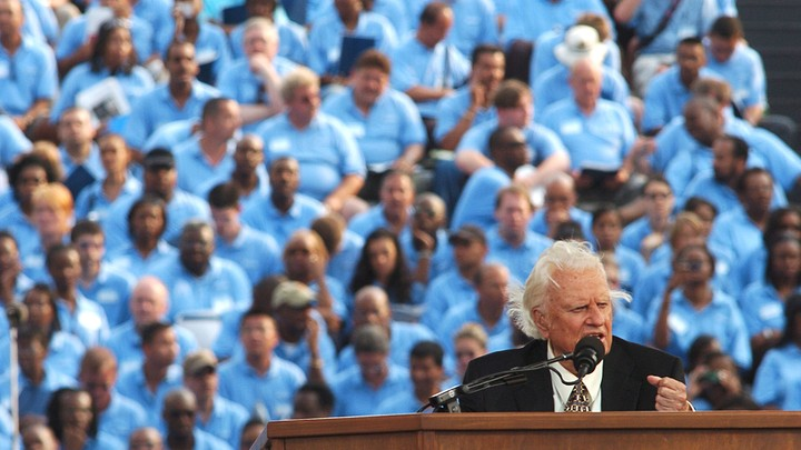 Billy Graham speaks at Flushing Meadows Park in New York in 2005.