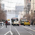 photo: Bikes, scooters, buses and streetcars on San Francisco's Market Street.