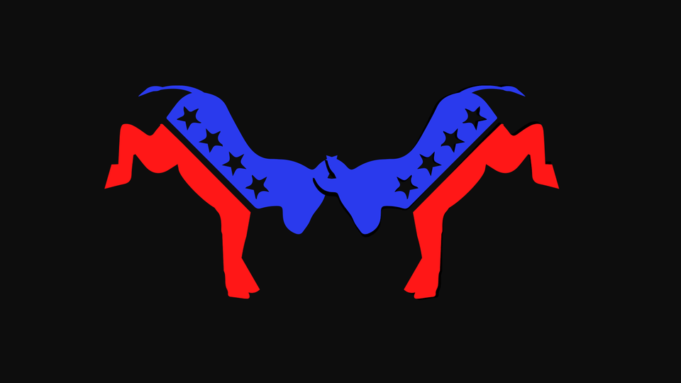 An illustration of two blue-and-red donkeys butting heads against a black backdrop