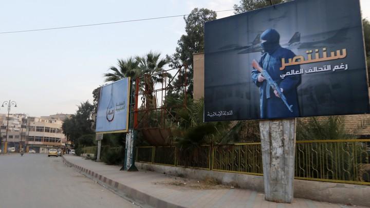 A billboard promoting the Islamic State in Raqqa, Syria.