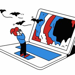 A little girl standing on a giant laptop, her head surrounded by circling bats