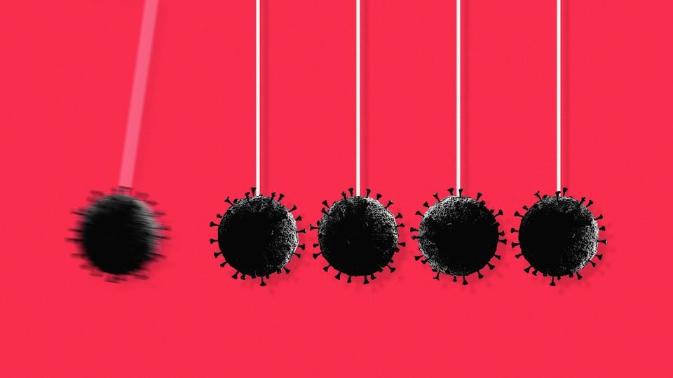 Illustration of the coronavirus as pendulums