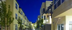 A photo of an Oakland public housing community.