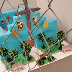 A photo of a model of a church created by a young person held at Tornillo detention facility in El Paso, when it was operational.