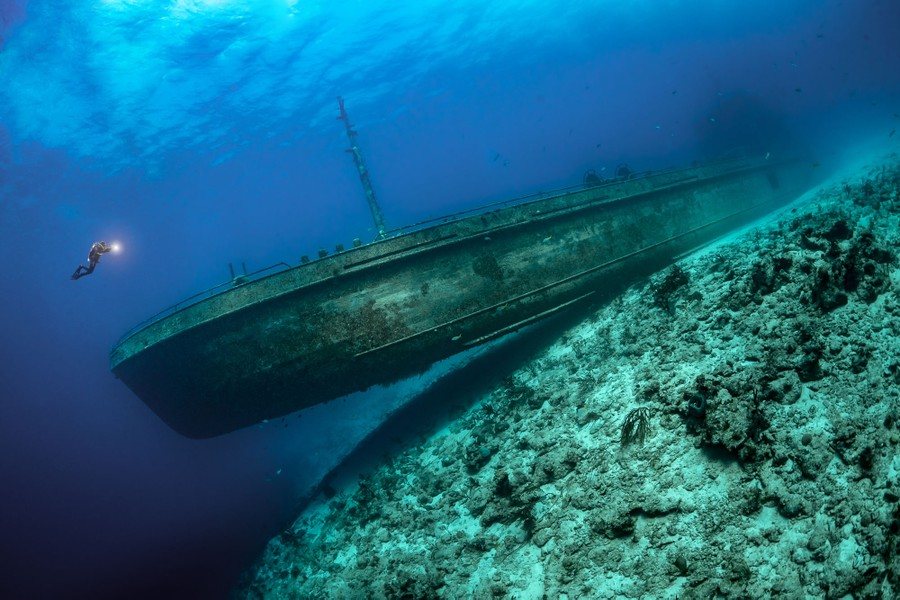 A diver swims near a large shipwreck resting on the ocean's bottom.