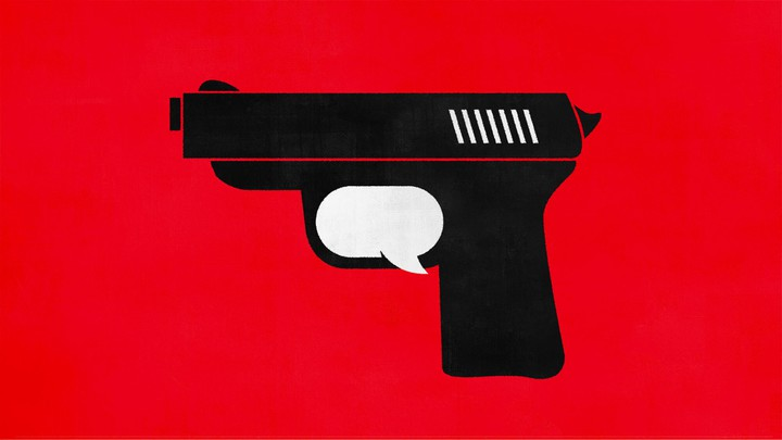 An illustration of a gun and speech bubble.