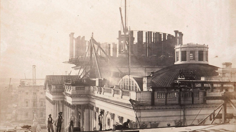 A view of the U.S. Capitol Building dome under construction in 1857, the year The Atlantic was launched.