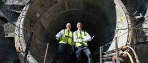 New Orleans Mayor Mitch Landrieu with Los Angeles Mayor Eric Garcetti during a tour of a metro rail construction site in downtown Los Angeles.