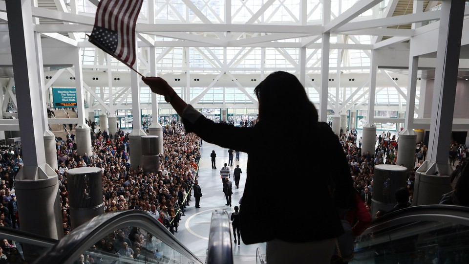 Thousands of people become naturalized citizens at this ceremony in Los Angeles in March.