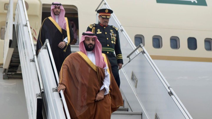 Saudi Crown Prince Mohammed bin Salman steps off the plane at the G20 in Buenos Aires.