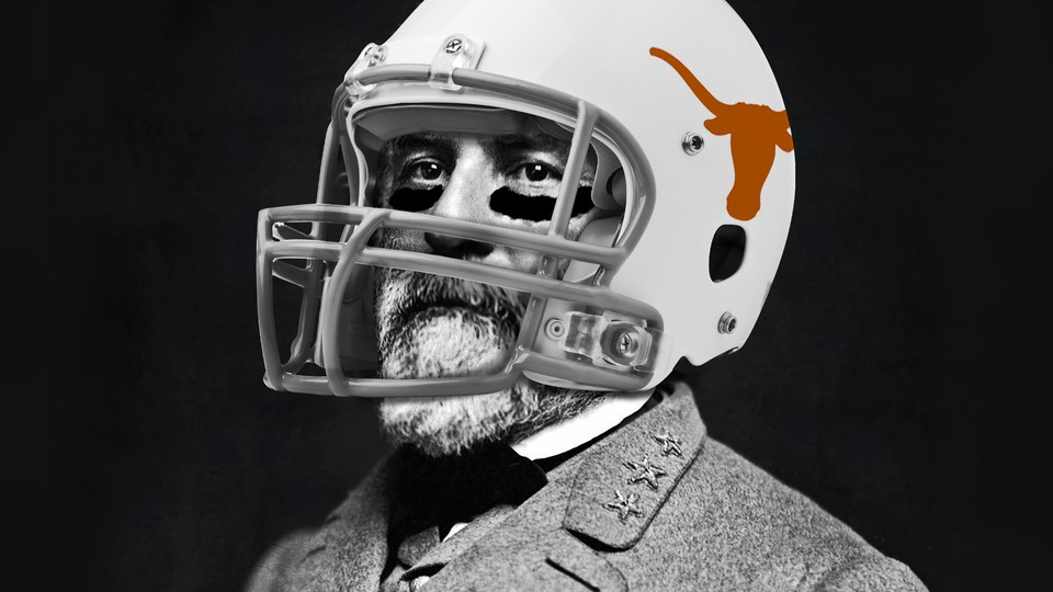 General Robert E. Lee dressed as a University of Texas football player